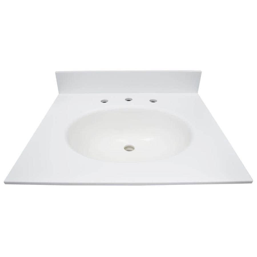 US Marble EC Polar Solid Surface Integral Single Sink Bathroom Vanity Top (Common: 25-in x 22-in; Actual: 25-in x 22-in)