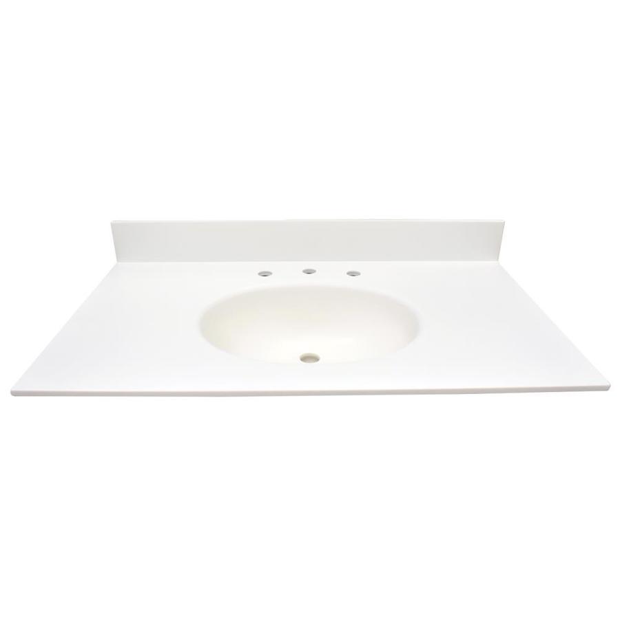 US Marble EC Polar Solid Surface Integral Single Sink Bathroom Vanity Top (Common: 37-in x 22-in; Actual: 37-in x 22-in)