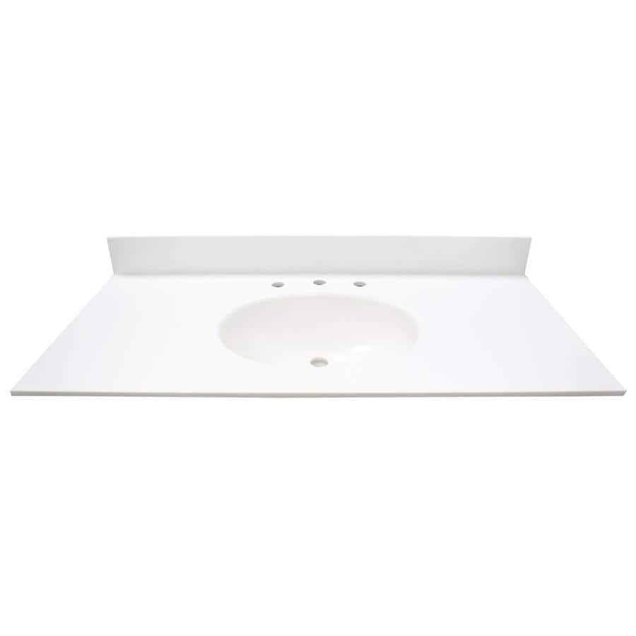 US Marble EC Polar Solid Surface Integral Single Sink Bathroom Vanity Top (Common: 43-in x 22-in; Actual: 43-in x 22-in)