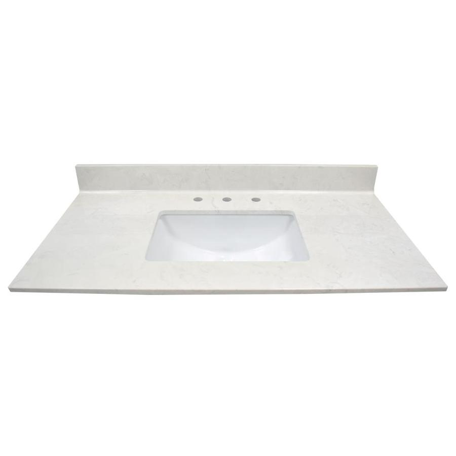 US Marble Steel Gray On White Cultured Marble Undermount Single Sink Bathroom Vanity Top (Common: 43-in x 22-in; Actual: 43-in x 22-in)
