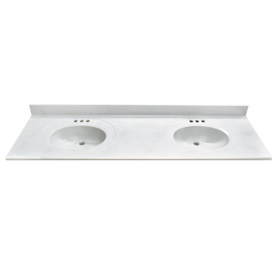 Shop Us Marble Dove Gray On White Cultured Marble Integral Double Sink Bathroom Vanity Top