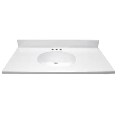 22 In X 43 White Vanity Top With Single Sink Integral Flush Oval Bowl S 4 Center Set Faucet Flat Edge Style And An Backsplash