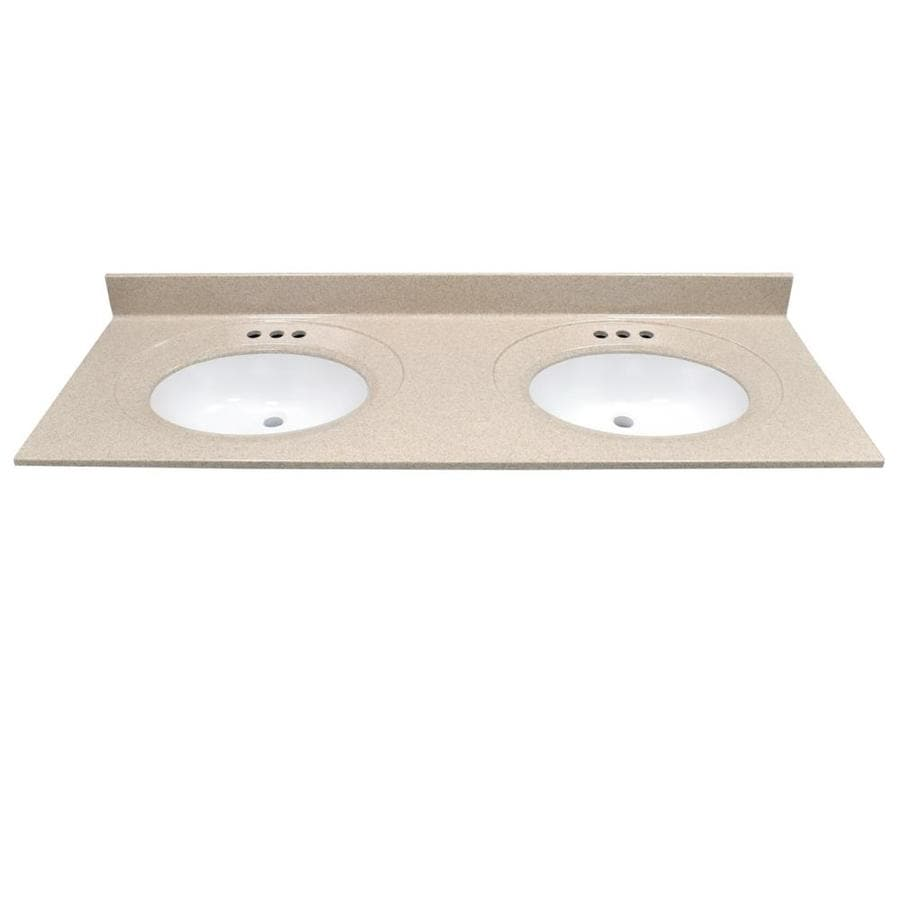 US Marble Recessed Oval Standard Brown Sugar- Gloss Cultured Marble Integral Double Sink Bathroom Vanity Top (Common: 61-in x 22-in; Actual: 61-in x 22-in)