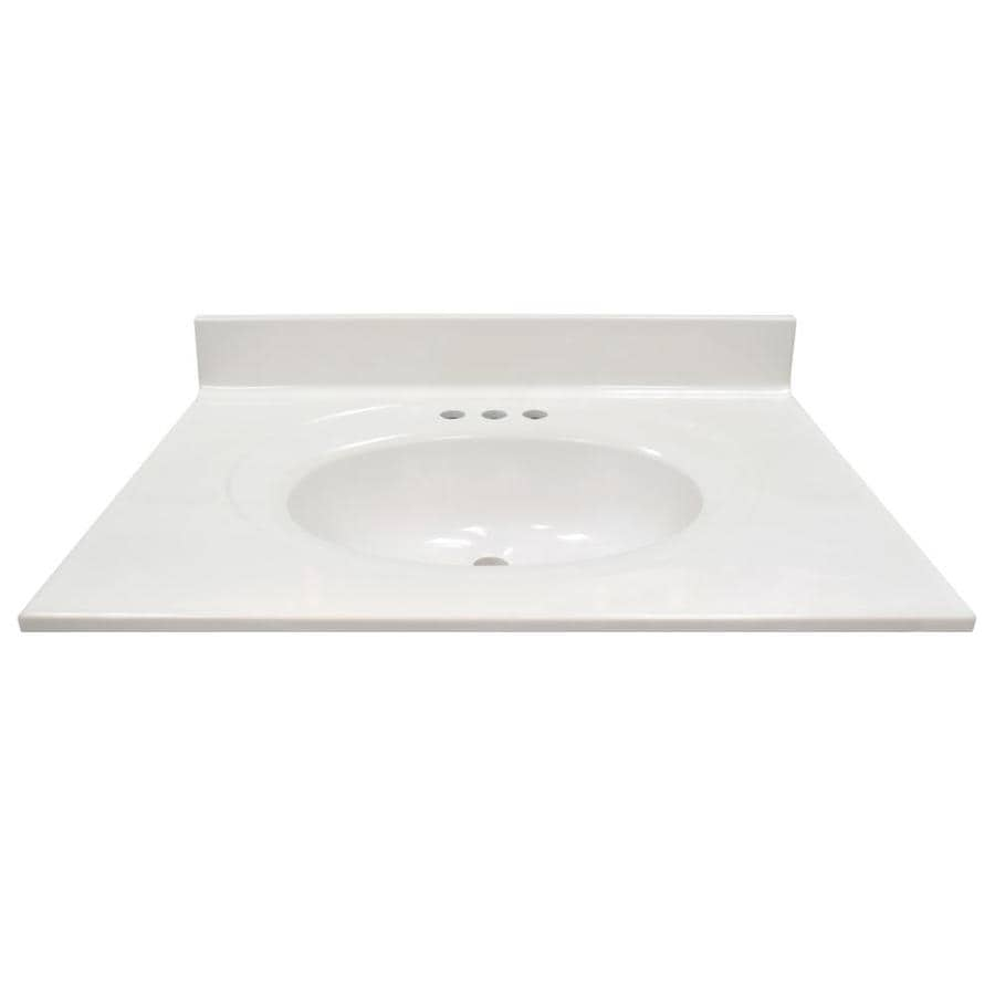 US Marble Recessed Oval White On White Cultured Marble Integral Bathroom Vanity Top (Common: 31-in x 22-in; Actual: 31-in x 22-in)