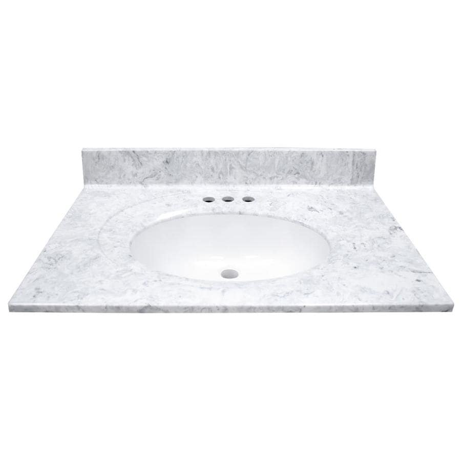 US Marble Recessed Oval Standard Gray On White- Gloss Cultured Marble Integral Single Sink Bathroom Vanity Top (Common: 31-in x 22-in; Actual: 31-in x 22-in)