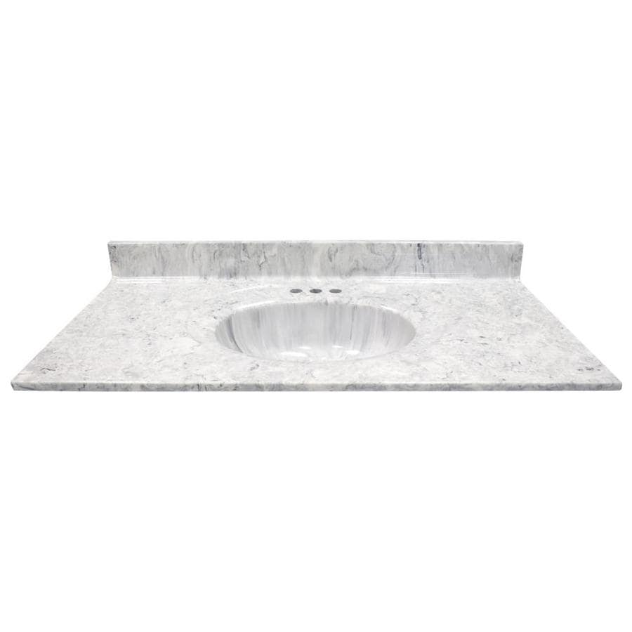 US Marble Recessed Oval Standard Gray On White Cultured Marble Integral Single Sink Bathroom Vanity Top (Common: 43-in x 22-in; Actual: 43-in x 22-in)