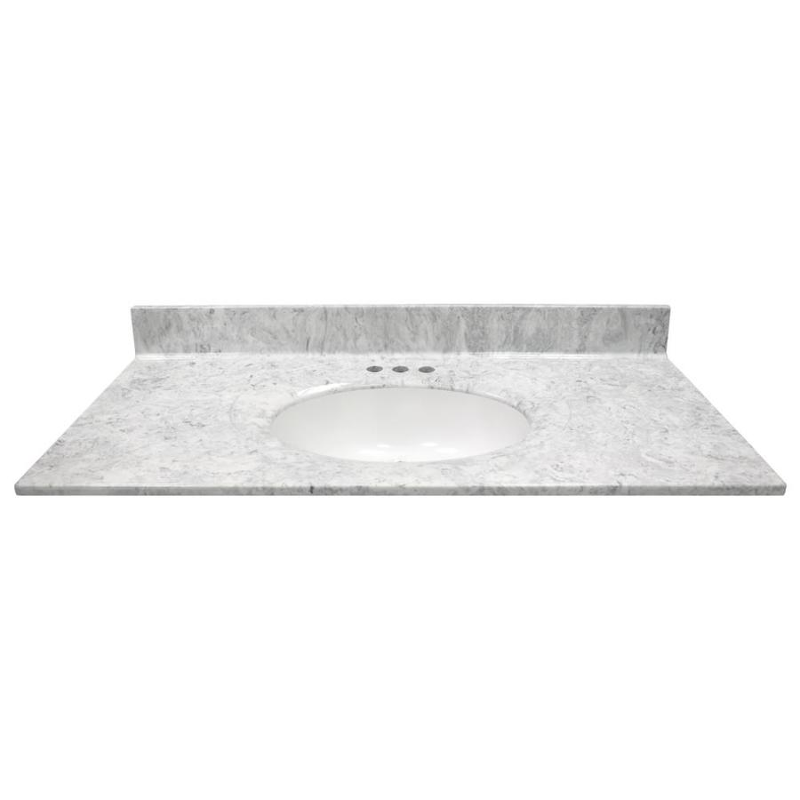 Grey And White Marble Bathroom: US Marble Recessed Oval Standard 43-in Gray On White