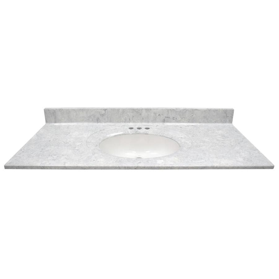 US Marble Recessed Oval Standard Gray on White- Gloss Cultured Marble Integral Single Sink Bathroom Vanity Top (Common: 49-in x 22-in; Actual: 49-in x 22-in)