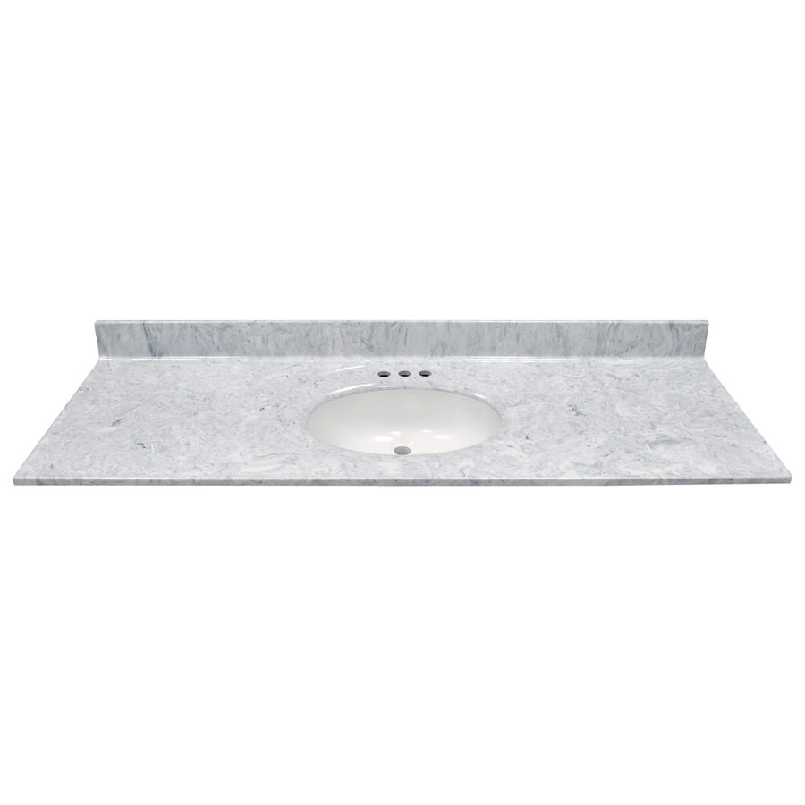 Shop Us Marble Recessed Oval Standard Gray On White Gloss Cultured Marble Integral Single Sink