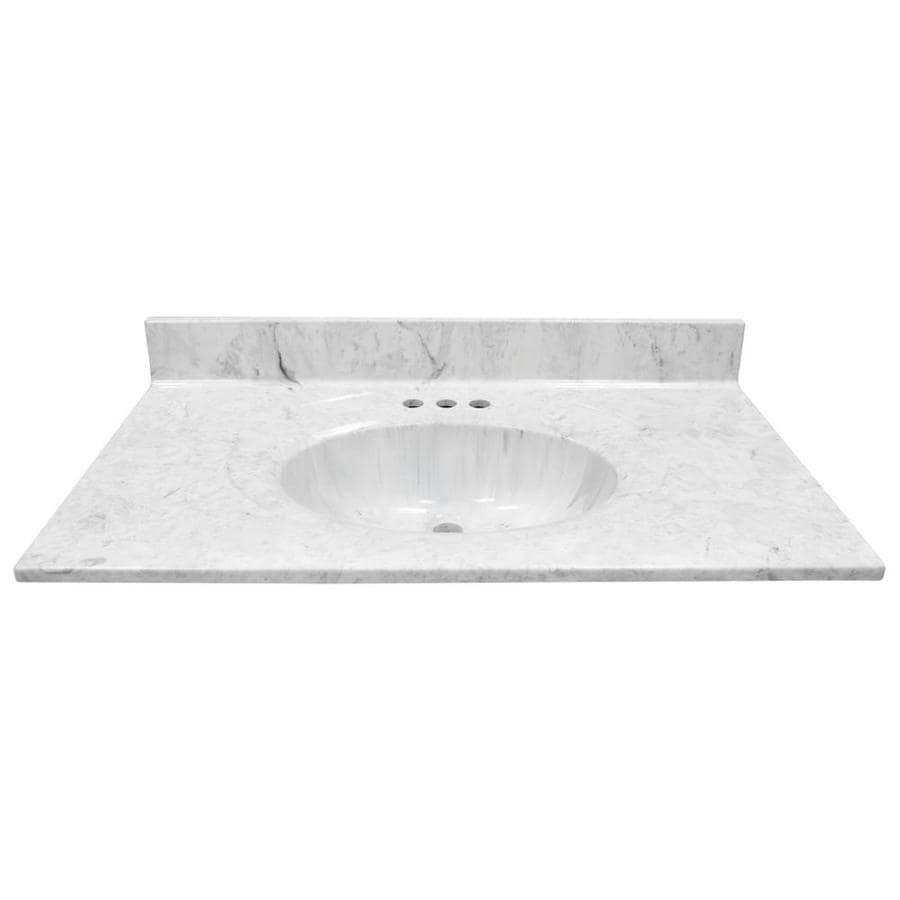 Shop Us Marble Recessed Oval Standard Gray On White Gloss Cultured Marble Bathroom Vanity Top