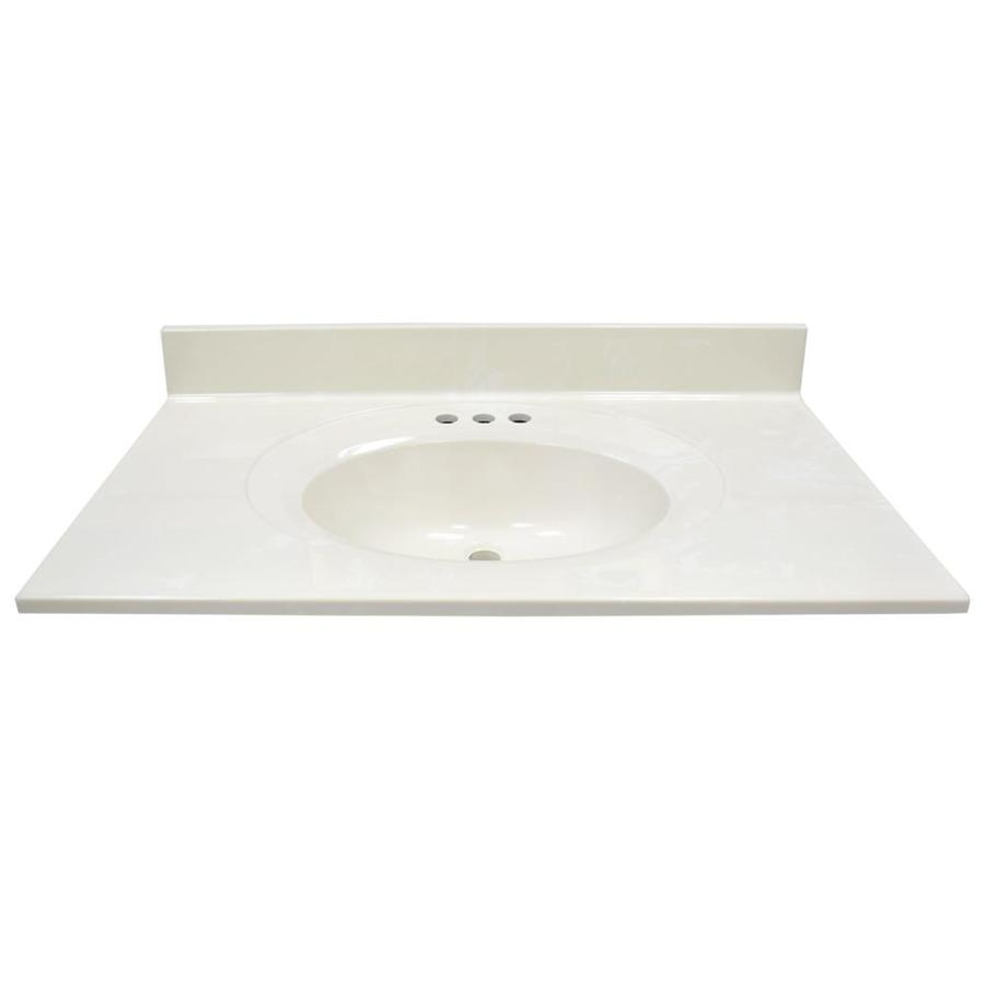 US Marble Recessed Oval White On Biscuit Cultured Marble Integral Bathroom Vanity Top (Common: 37-in x 22-in; Actual: 37-in x 22-in)