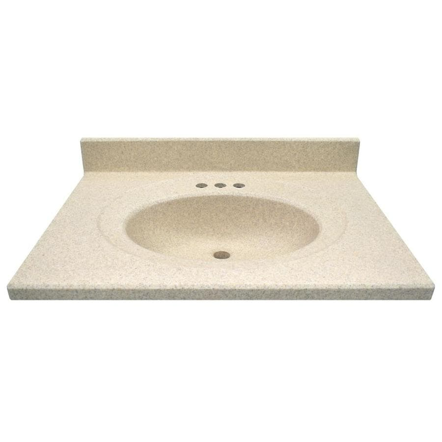 US Marble Brown Sugar Cultured Marble Integral Bathroom Vanity Top (Common: 31-in x 22-in; Actual: 31-in x 22-in)