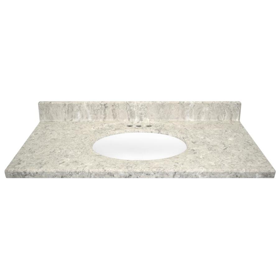 US Marble Designer River Bottom- Matte Cultured Marble Integral Single Sink Bathroom Vanity Top (Common: 43-in x 22-in; Actual: 43-in x 22-in)