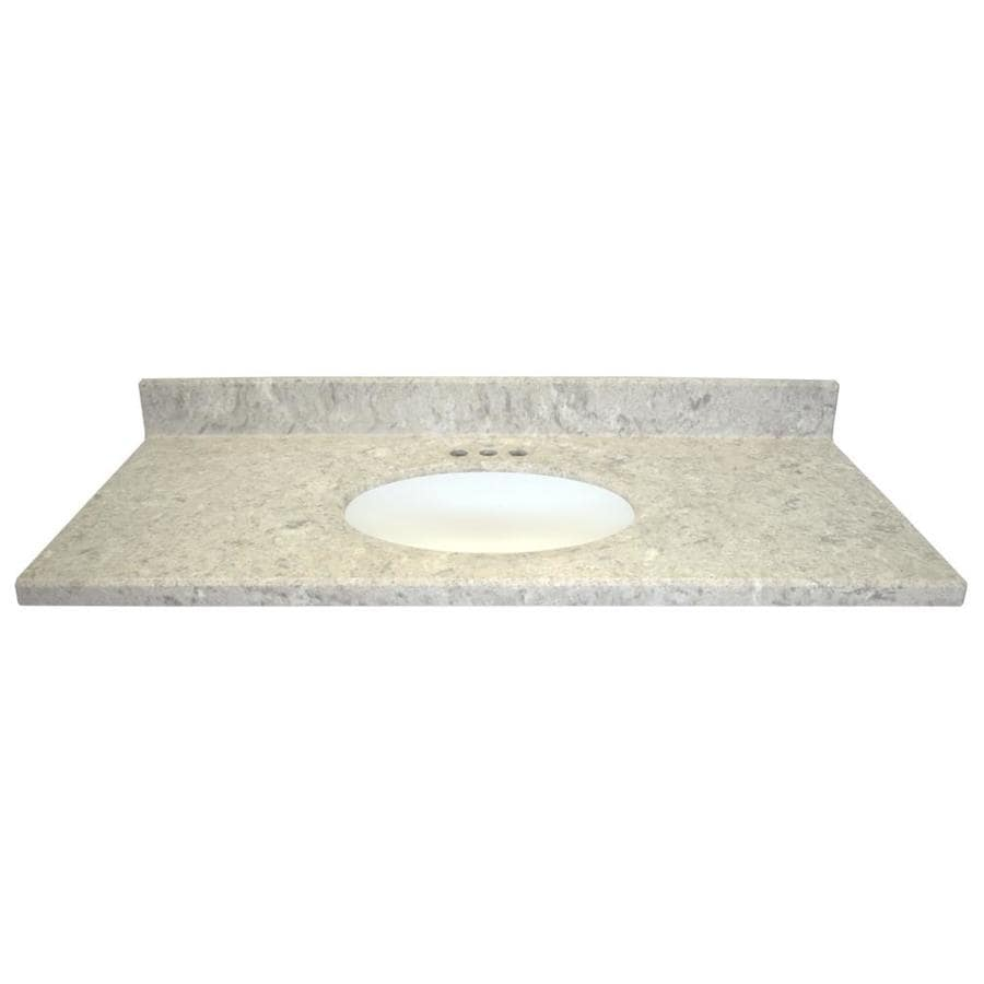 US Marble Designer River Bottom- Matte Cultured Marble Integral Single Sink Bathroom Vanity Top (Common: 49-in x 22-in; Actual: 49-in x 22-in)