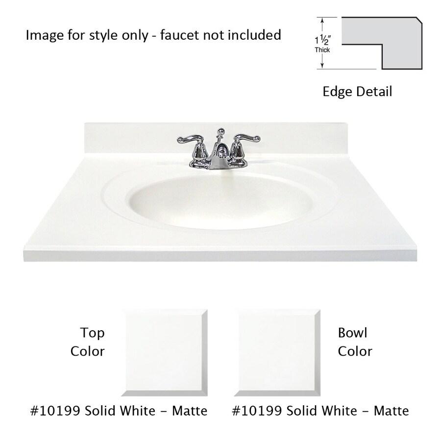Shop US Marble Designer White Cultured Marble Integral Single Sink ...