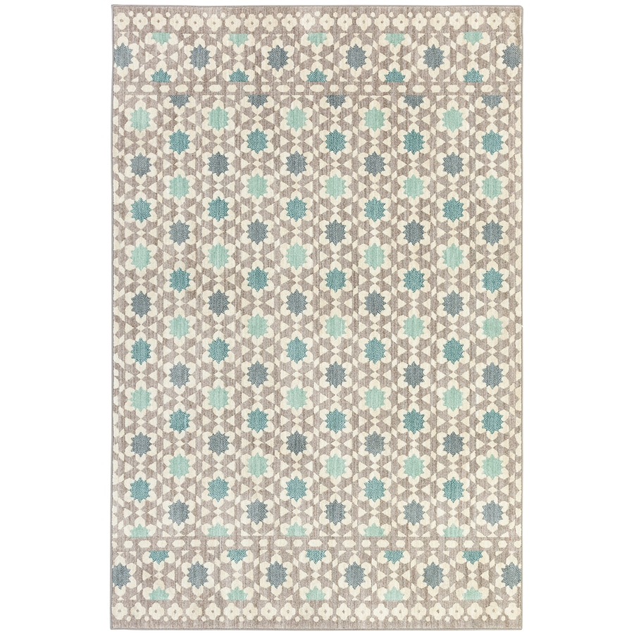 Mohawk Home Cascade Heights Lattice Tiles Grey Rectangular Indoor Machine-Made Inspirational Area Rug (Common: 5 x 8; Actual: 5.25-ft W x 7.83-ft L x 0.5-ft dia)