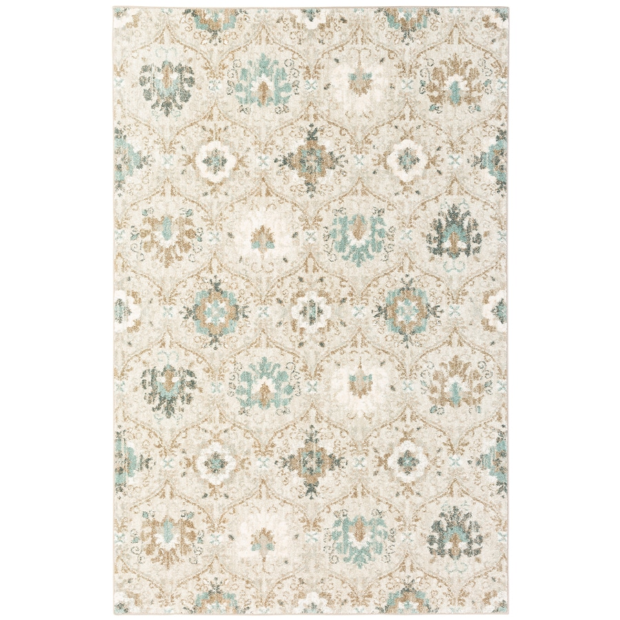 Mohawk Home Serenade Bone White Rectangular Indoor Machine-Made Inspirational Area Rug (Common: 8 x 11; Actual: 8-ft W x 11-ft L x 0.5-ft dia)