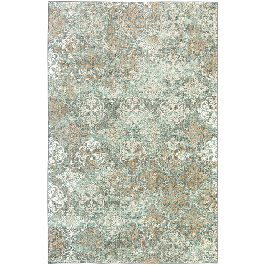 Mohawk Home Serenade Arietta Abyss Blue Rectangular Indoor Machine-Made Inspirational Area Rug (Common: 8 x 11; Actual: 8-ft W x 11-ft L x 0.5-ft dia)