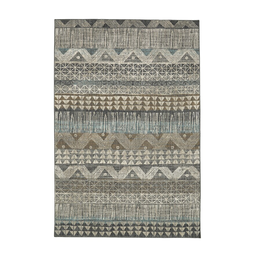 Mohawk Home Serenade Ballad Gray Rectangular Indoor Machine-Made Inspirational Area Rug (Common: 8 x 11; Actual: 8-ft W x 11-ft L x 0.5-ft dia)