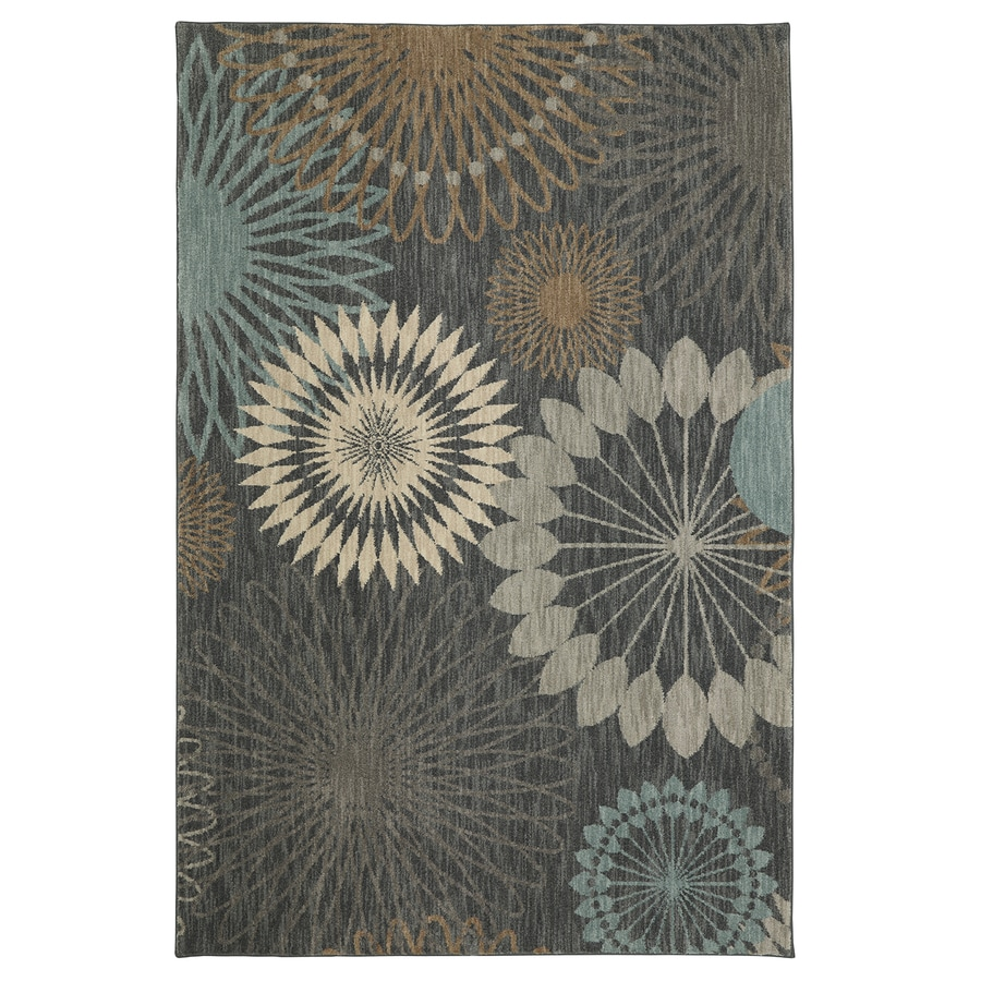 Mohawk Home Serenade Castor Gray Rectangular Indoor Machine-Made Inspirational Area Rug (Common: 5 x 8; Actual: 5-ft W x 8-ft L x 0.5-ft dia)