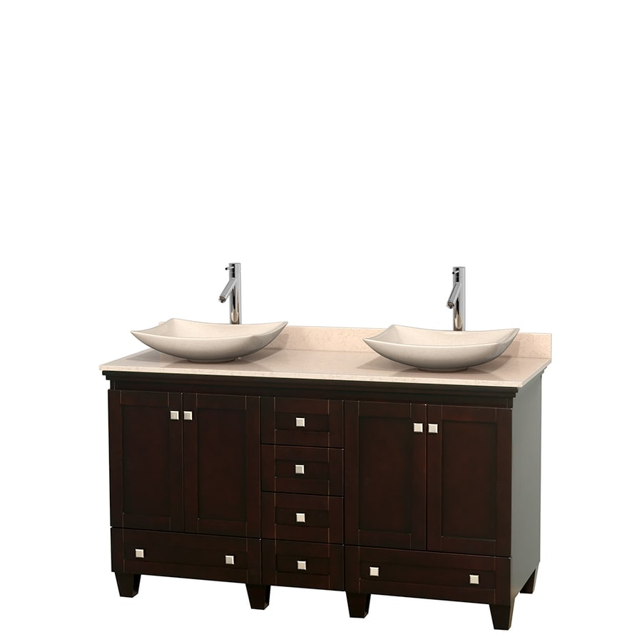 Wyndham Collection Acclaim Espresso Double Vessel Sink Bathroom Vanity with Natural Marble Top (Common: 60-in x 22-in; Actual: 60-in x 22-in)