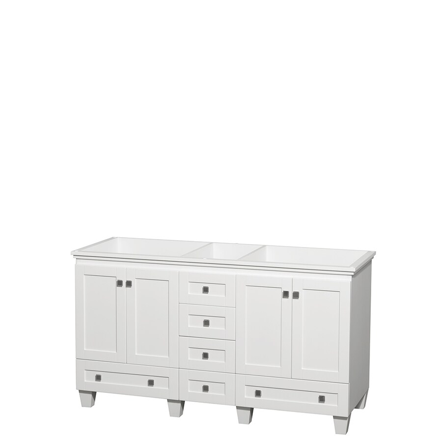 Wyndham Collection Acclaim White 59-in Transitional Bathroom Vanity