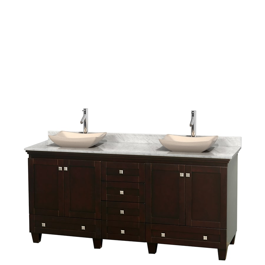 Wyndham Collection Acclaim Espresso (Common: 72-in x 22-in) Vessel Double Sink Oak Bathroom Vanity with Natural Marble Top (Actual: 72-in x 22-in)