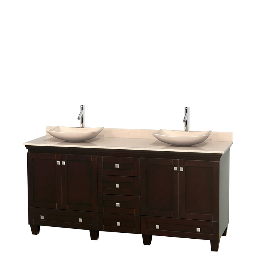 Wyndham Collection Acclaim Espresso Double Vessel Sink Bathroom Vanity with Natural Marble Top (Common: 72-in x 22-in; Actual: 72-in x 22-in)