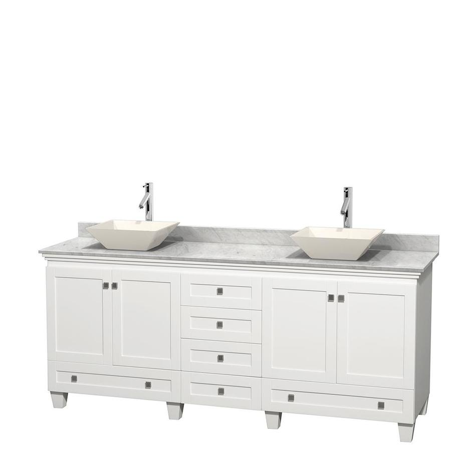 Wyndham Collection Acclaim White 80-in Vessel Double Sink Oak Bathroom Vanity with Natural Marble Top