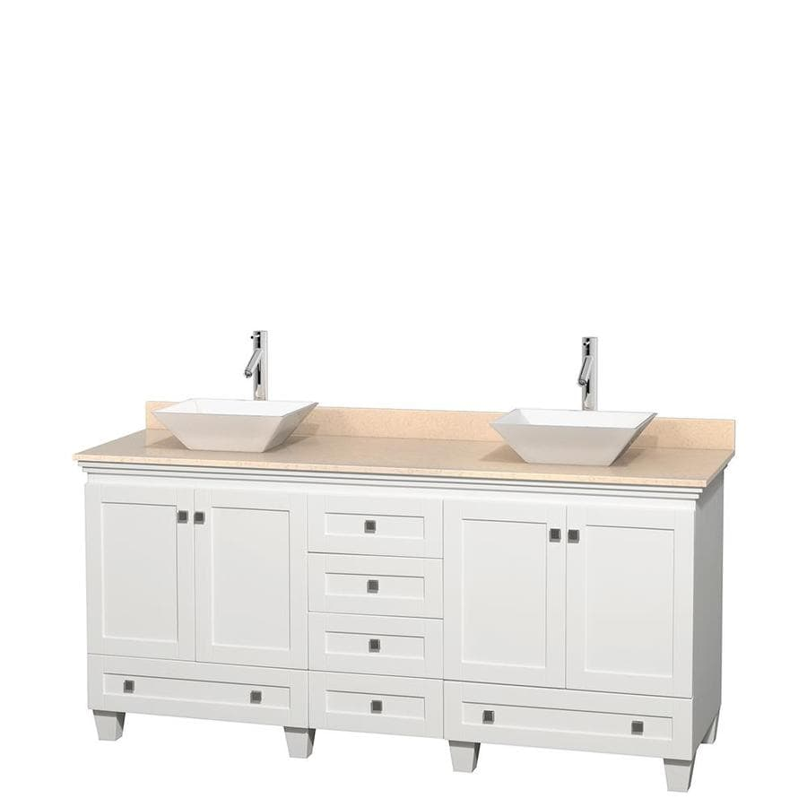 Wyndham Collection Acclaim White 72-in Vessel Double Sink Oak Bathroom Vanity with Natural Marble Top