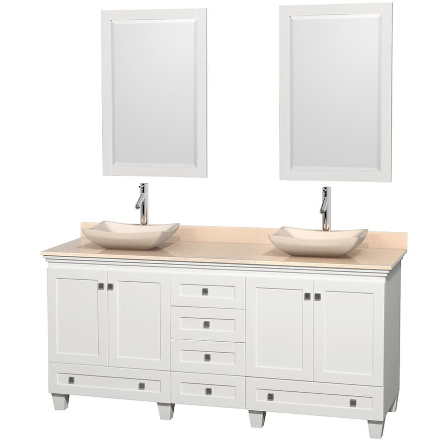 Wyndham Collection Acclaim White Double Vessel Sink Bathroom Vanity with Natural Marble Top (Common: 72-in x 22-in; Actual: 72-in x 22-in)