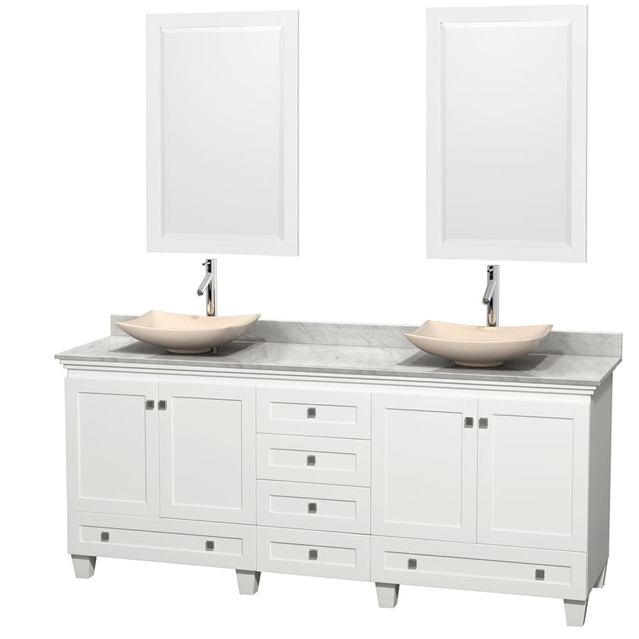 Wyndham Collection Acclaim White Double Vessel Sink Bathroom Vanity with Natural Marble Top (Common: 80-in x 22-in; Actual: 80-in x 22-in)