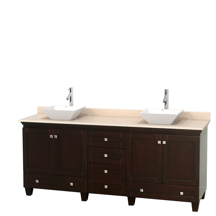 Wyndham Collection Acclaim Espresso Double Vessel Sink Bathroom Vanity with Natural Marble Top (Common: 80-in x 22-in; Actual: 80-in x 22-in)