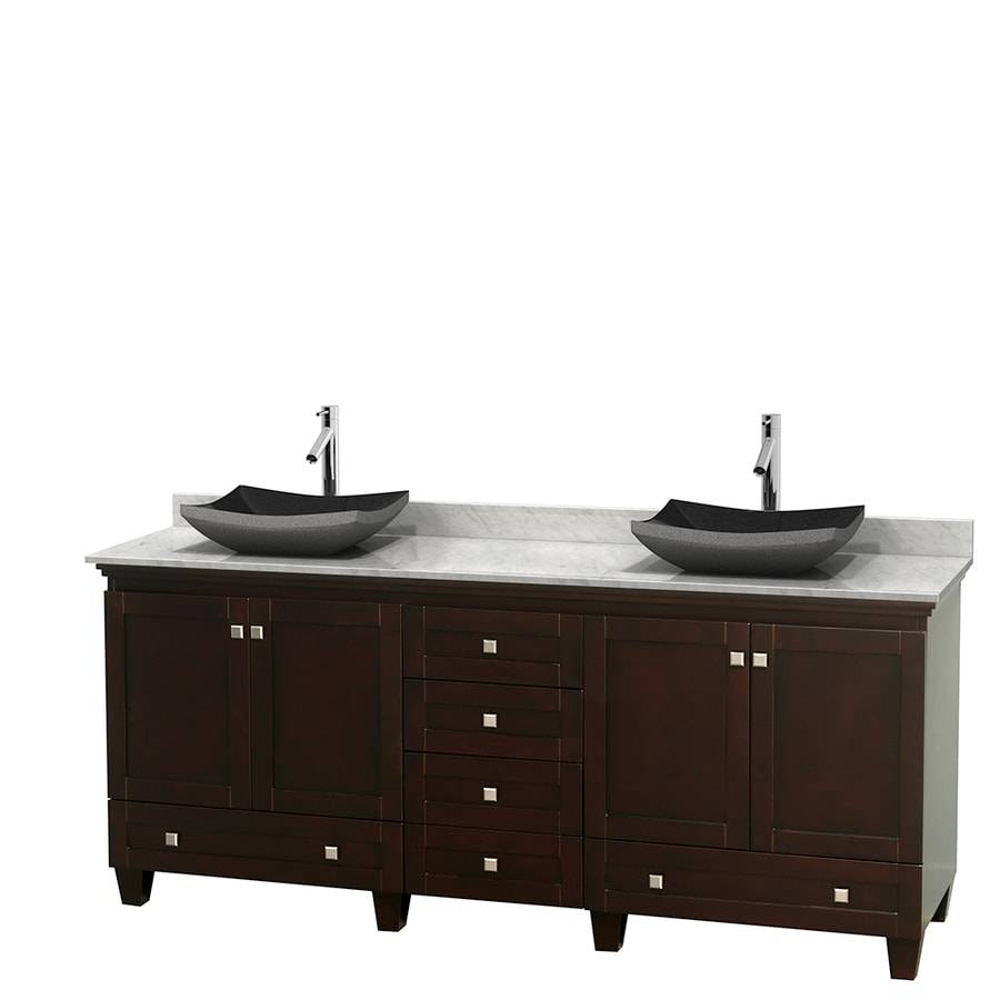 Wyndham Collection Acclaim Espresso 80-in Vessel Double Sink Oak Bathroom Vanity with Natural Marble Top
