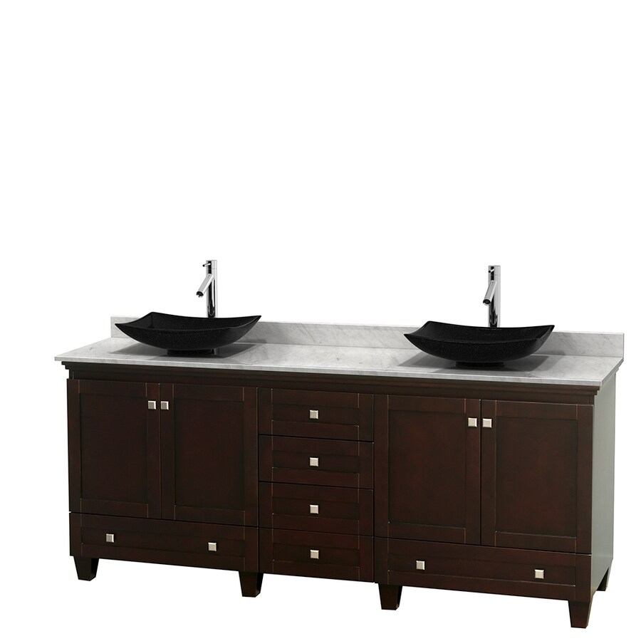 Wyndham Collection Acclaim Espresso (Common: 80-in x 22-in) Vessel Double Sink Oak Bathroom Vanity with Natural Marble Top (Actual: 80-in x 22-in)