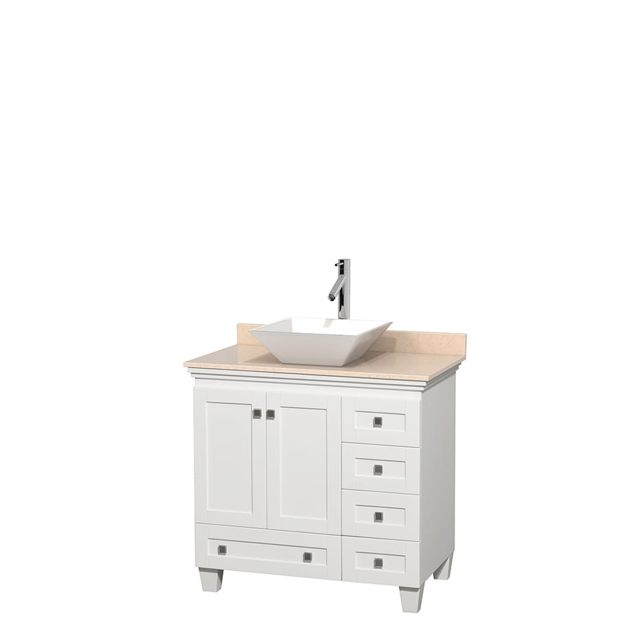 Wyndham Collection Acclaim White 36-in Vessel Single Sink Oak Bathroom Vanity with Natural Marble Top