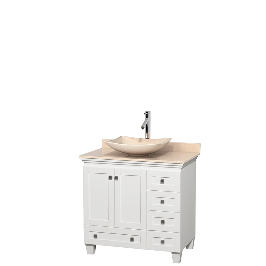 Wyndham Collection Acclaim White Single Vessel Sink Bathroom Vanity with Natural Marble Top (Common: 36-in x 22-in; Actual: 36-in x 22-in)