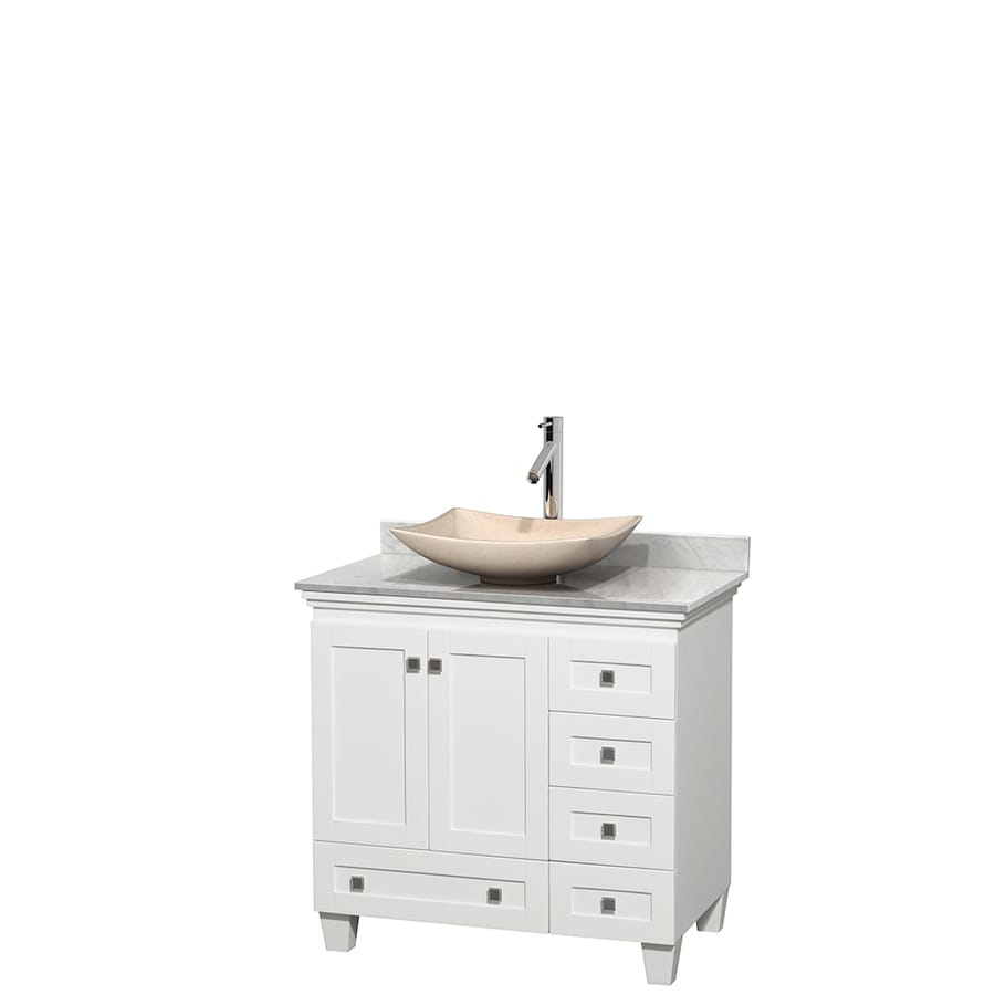 Shop Wyndham Collection Acclaim White Single Vessel Sink Bathroom Vanity With Natural Marble Top