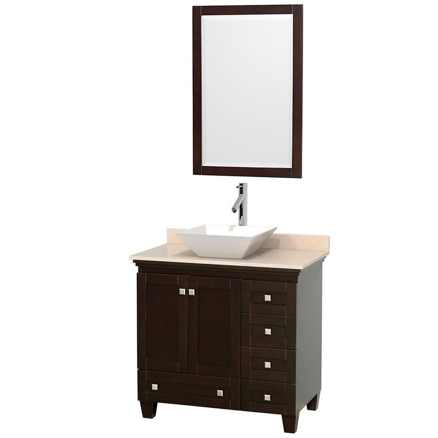 Wyndham Collection Acclaim Espresso 36-in Vessel Single Sink Oak Bathroom Vanity with Natural Marble Top (Mirror Included)