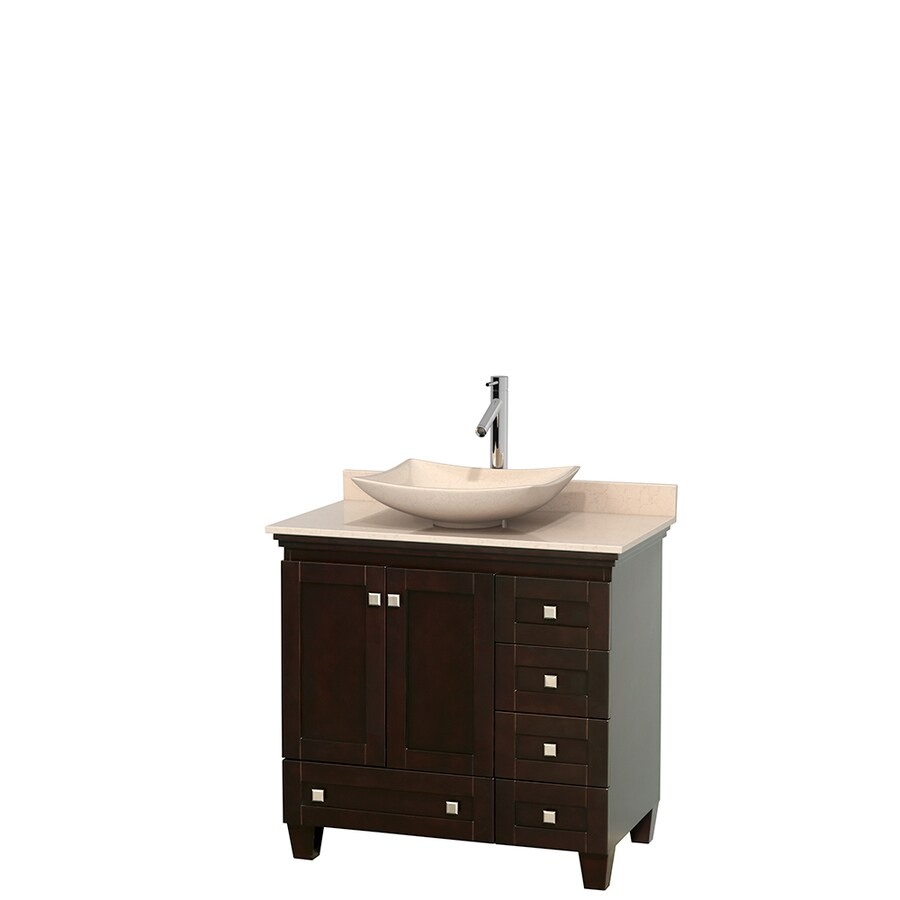 Wyndham Collection Acclaim Espresso Single Vessel Sink Bathroom Vanity with Natural Marble Top (Common: 36-in x 22-in; Actual: 36-in x 22-in)