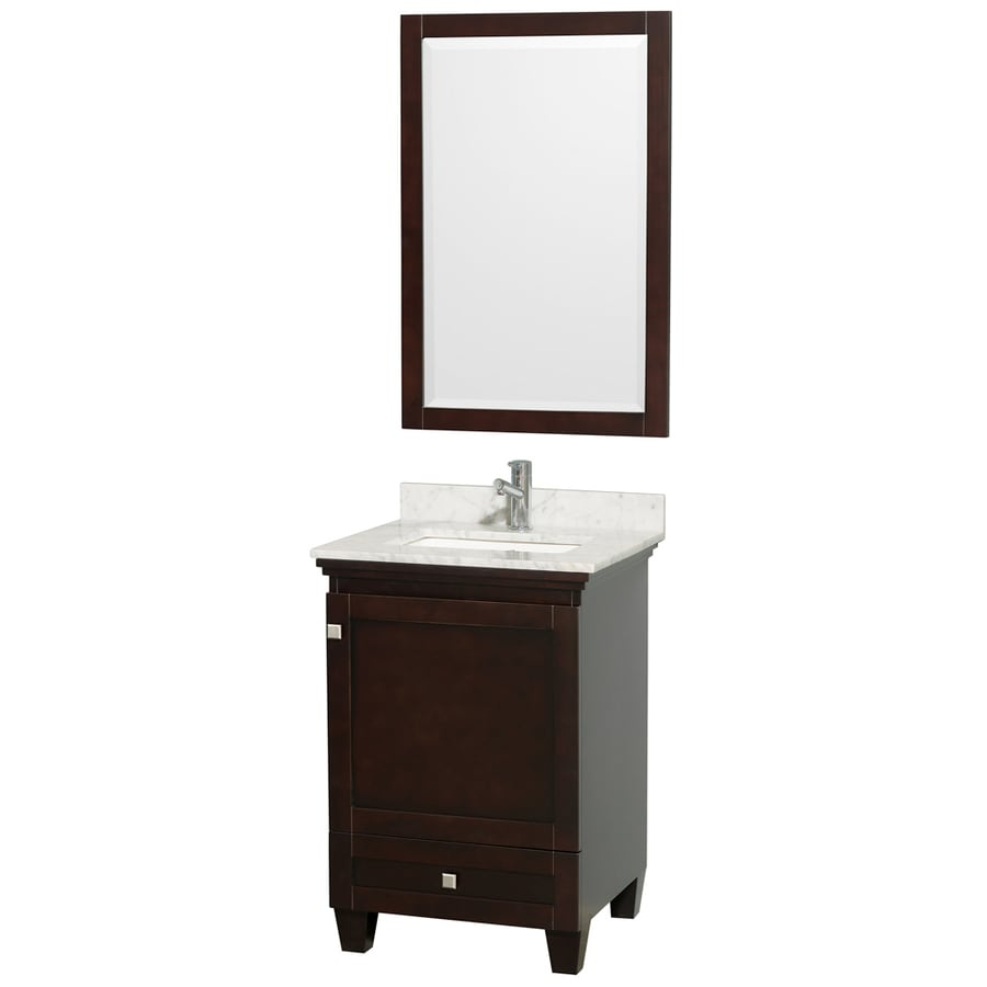 Wyndham Collection Acclaim Espresso Undermount Single Sink Bathroom Vanity with Natural Marble Top (Common: 24-in x 22-in; Actual: 24-in x 22-in)