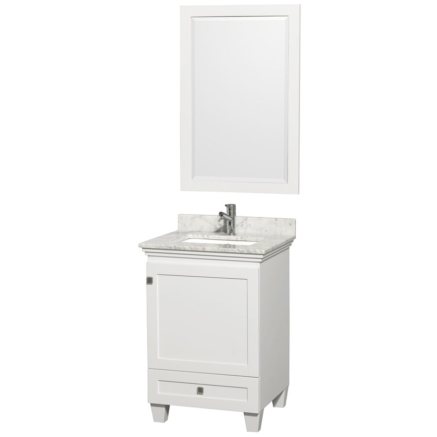 Wyndham Collection Acclaim White Undermount Single Sink Bathroom Vanity with Natural Marble Top (Common: 24-in x 22-in; Actual: 24-in x 22-in)