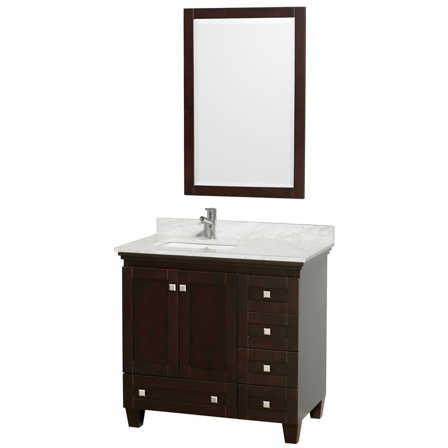 Wyndham Collection Acclaim Espresso (Common: 36-in x 22-in) Undermount Single Sink Oak Bathroom Vanity with Natural Marble Top (Mirror Included) (Actual: 36-in x 22-in)