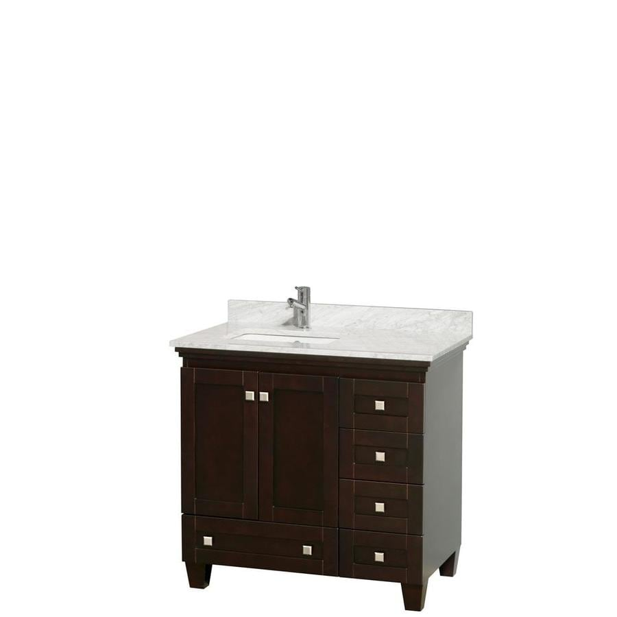 36 in undermount single sink oak bathroom vanity with natural marble