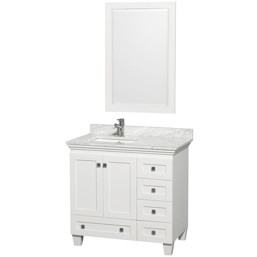 Wyndham Collection Acclaim White 36-in Undermount Single Sink Oak Bathroom Vanity with Natural Marble Top (Mirror Included)
