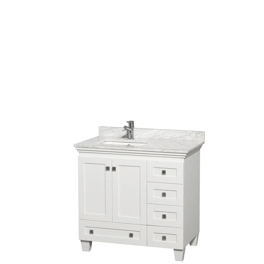 Wyndham Collection Acclaim White Undermount Single Sink Bathroom Vanity with Natural Marble Top (Common: 36-in x 22-in; Actual: 36-in x 22-in)