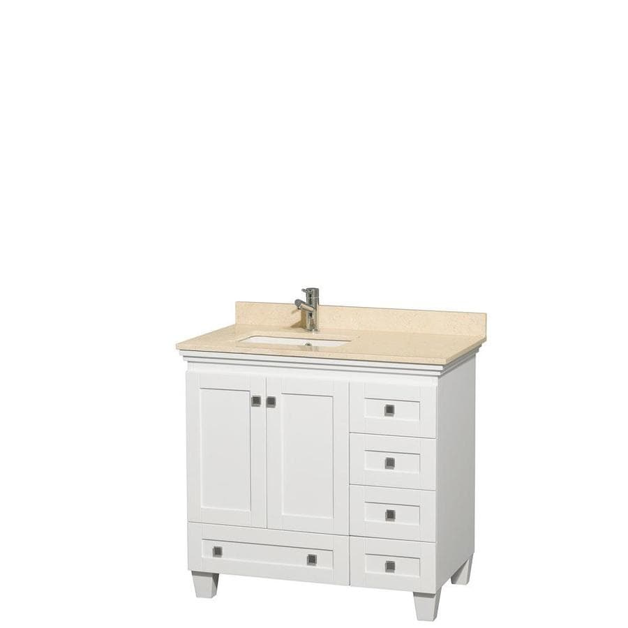 Wyndham Collection Acclaim White 36-in Undermount Single Sink Oak Bathroom Vanity with Natural Marble Top