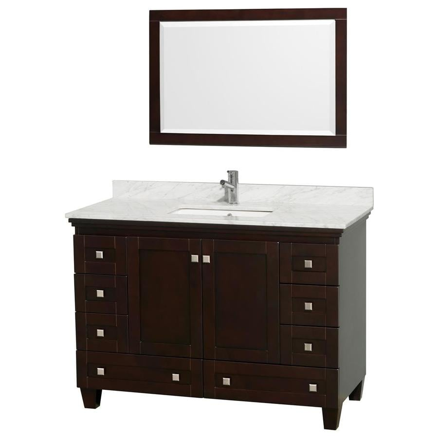 Wyndham Collection Acclaim Espresso 48-in Undermount Single Sink Oak Bathroom Vanity with Natural Marble Top (Mirror Included)