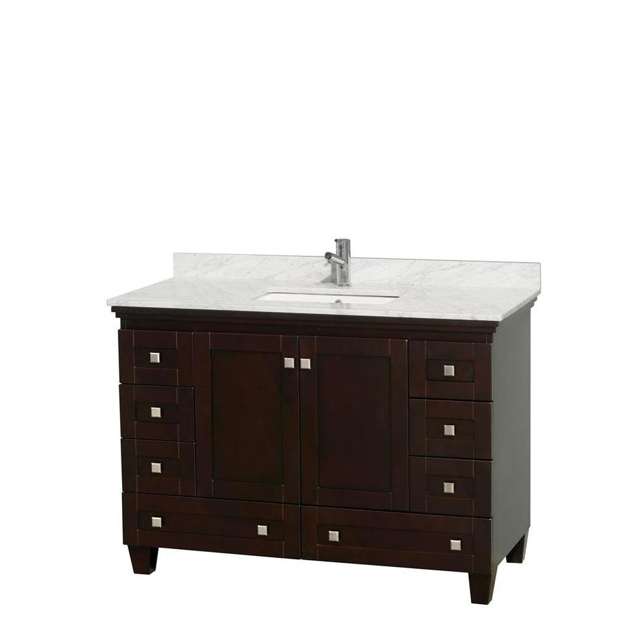 Wyndham Collection Acclaim Espresso (Common: 48-in x 22-in) Undermount Single Sink Oak Bathroom Vanity with Natural Marble Top (Actual: 48-in x 22-in)