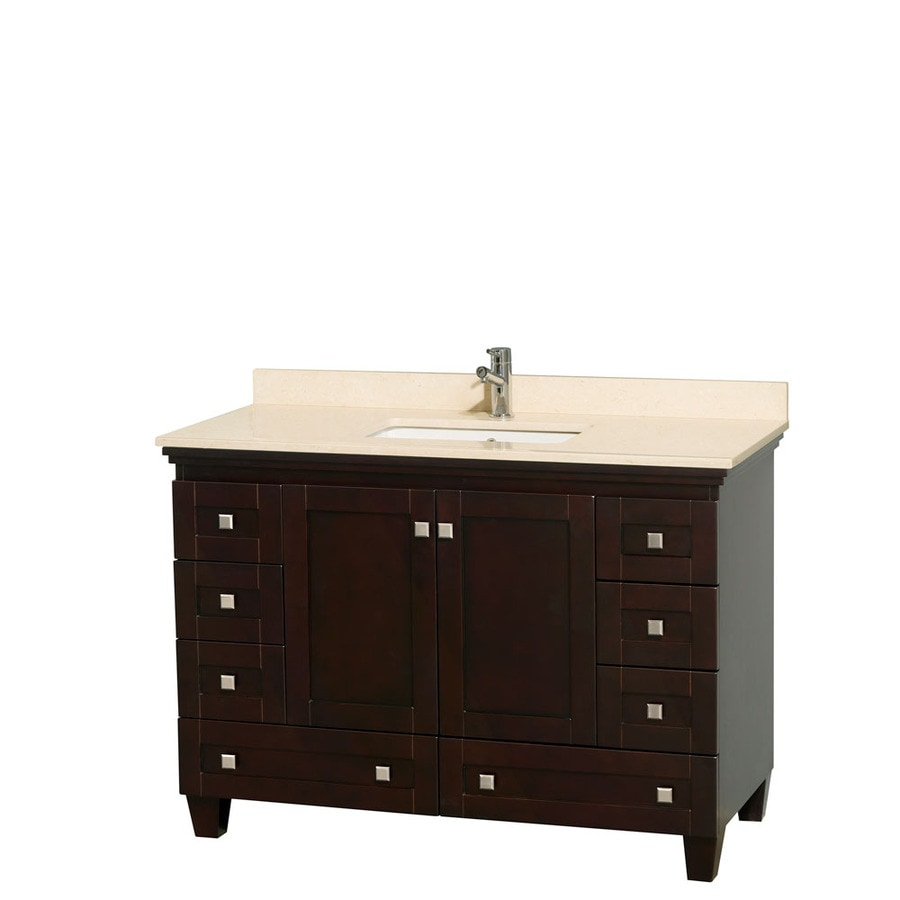 Wyndham Collection Acclaim Espresso Undermount Single Sink Bathroom Vanity with Natural Marble Top (Common: 48-in x 22-in; Actual: 48-in x 22-in)